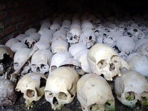 Photo by Robert Wyrod Skulls at Nyamata genocide memorial.
